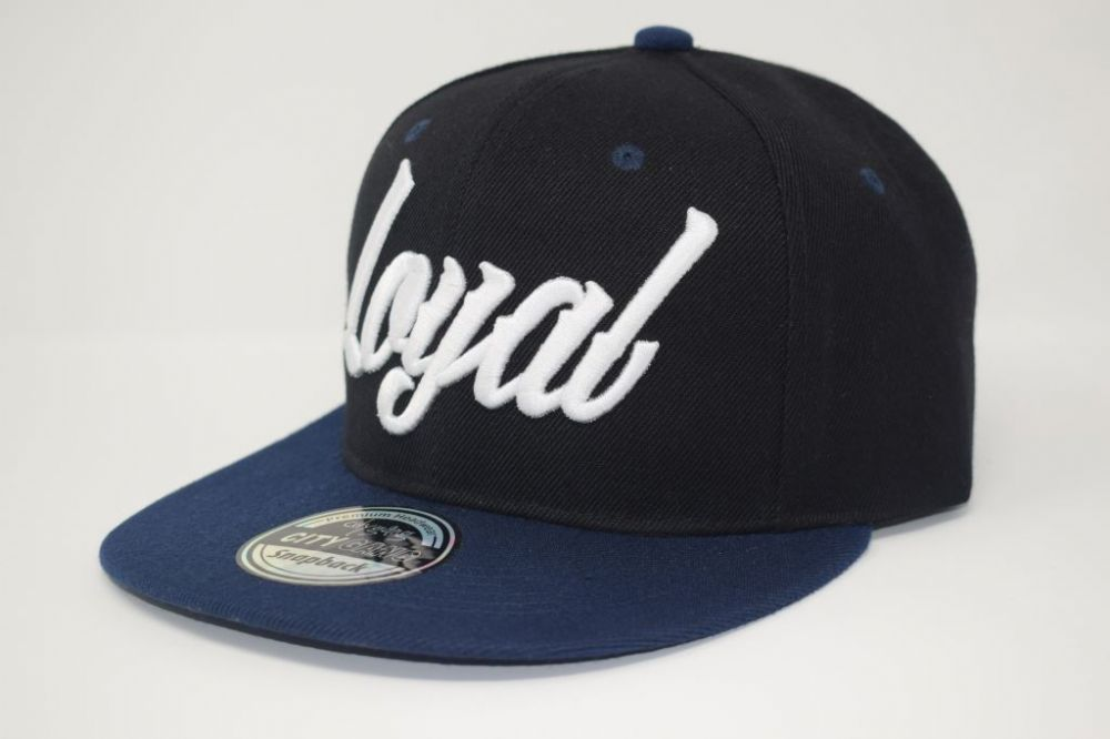 C4879-'Loyal' Navy/Black Snapback caps, one size fits all adjustable